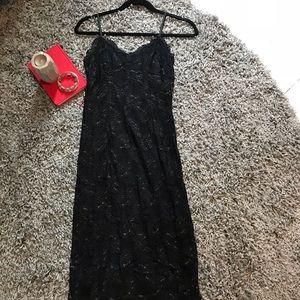 Guess Size S black lacy midi date night dress